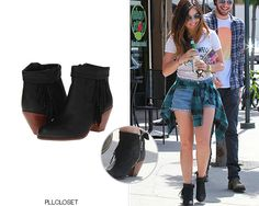 Lucy Hale out & about, Los Angeles | May 9, 2014   These booties were also worn by Hanna on the show, Ashley Benson, Lucy Hale in a another colour AND Shay Mitchell!Sam Edelman 'Louie Boots' in Black Nubuck - $140.00Worn with: Bandit Brand tee, Urban Renewal shorts, Ray-Ban sunglasses