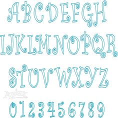Curlz Applique Embroidery Font  Embroidery Font Set Includes: 3,4 and 6 Inch Letters & Numbers.