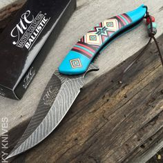 Native American Indian Spring Assisted Open Pocket Knife Damascus Style by JewelryPassport on Etsy