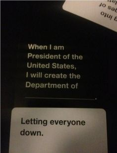 Cards against humanity got relevant last night. Stupid Funny, The Funny, Funny Jokes, Hilarious, Funny Stuff, Funny Things, Random Stuff, Funniest Cards Against Humanity, Cards Of Humanity
