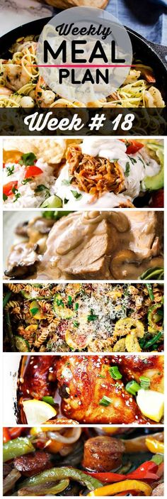 Weekly Meal Plan #18! A meal plan to help you keep things tasty each week, including bown butter shrmip campi, buffalo chicken baked burritos, pork tenderloin, and more! | HomemadeHooplah.com