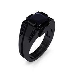 Mens Modern 14k Black Gold 2.0 Carat Princess от DavidJewelryCo