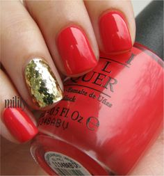 reddish coral jelly and gold accent.
