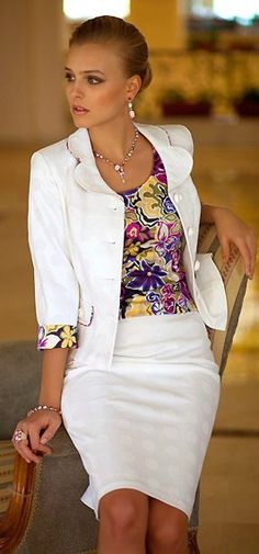 White suit w/floral print, perfect for the office.