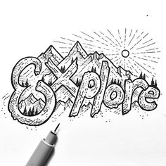 Another little doodle from yesterday. Probably should have started with a pencil outline but oh well! #sketch #sketchbook #drawing #art #instaart #iblackwork #pnwonderland #graphicdesignblg #wildernessculture #micron #pen #ink #bw #typography #type #illustration #outdoors #mountains #trees #sun #explore #hiking #adventure #landscape #detail #texture #doodle #doodling #optoutside