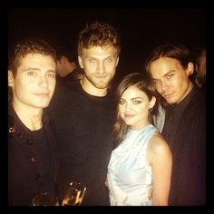 Julian Morris (Wren), Keegan Allen (Toby), Lucy Hale (Aria) and Tyler Blackburn (Caleb) behind the scenes of Pretty Little Liars. #PLL