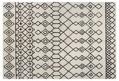 Love the thick rug pile and delicate black and white pattern on this plush area rug.