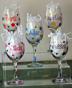 Make nice inexpensive gifts...use paint on enamel craft paint, bake in the oven...get the stemware at the dollar store...Great fun! Great Gifts!