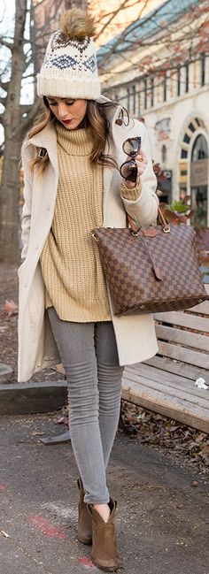 BLANKNYC Skinny Jeans in Gray | Leith Oversized Turtleneck Sweater | Lauren Ralph Lauren Knit Cuff Funnel Neck Basket Weave Coat