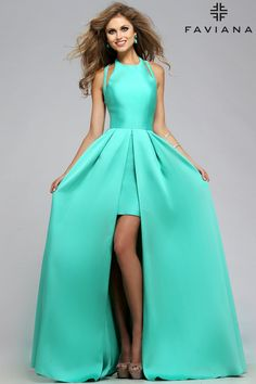 Frosted satin with attached split front overskirt Style 7752 #PromDresses