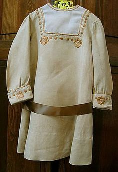Child's Dress, Embroidered Ecru Linen, circa 1910