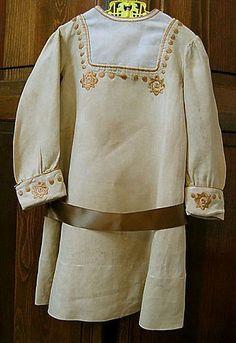 Child's Dress, Embroidered Ecru Linen, circa 1910