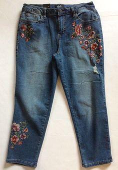 Earl Jeans Distressed Embroidered Skinny Capri Blue Denim Size 12 NWT   eBay