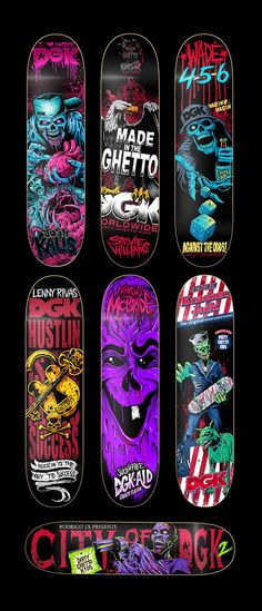 A series of skateboards and tee graphics for DGK  Skateboards.