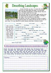 English worksheet: Describing a Landscape