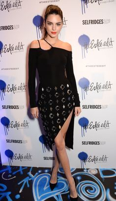 Kendall Jenner wearing a David Koma disco skirt and off-the-shoulder top.