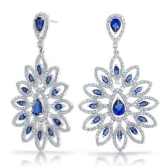 Colorful Fashion Jewelry | Bling Jewelry Silver Toned Flower Sapphire Color CZ Pear Marquise ...