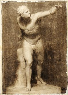 Study of a Plaster Cast of the Borghese Gladiator. 1872. Maria Brooks. British 1837-1913. black chalk on paper. http://hadrian6.tumblr.com