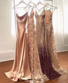 Mismatched spaghetti strap long bridesmaid dresses – Famous Last Words Grad Dresses, Long Bridesmaid Dresses, Dance Dresses, Ball Dresses, Ball Gowns, Wedding Dresses, Wedding Bridesmaids, Prom Outfits, Trendy Outfits