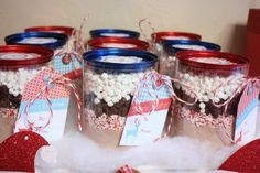 Peppermint Hot Chocolate Party Favors #hotcocoa #partyfavors