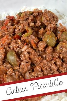 CUBAN PICADILLO Cuban Picadillo is a delicious and easy one pot meal! Ground beef (or turkey if you want to make it healthier) is combined with olives, capers, and tomatoes for a flavorful one pot meal.  Serve is over rice or by itself!  #georgiagirlkitchen #picadillo #cubanpicadillo #onepotmeal Hamburger And Rice Recipes, Beef Recipes, Healthy Recipes, Healthy Dinners, Family Recipes, Healthy Food, Yummy Food, Easy One Pot Meals, Easy Weeknight Meals