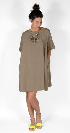 Hache Boatneck Sack Dress, Ashley Pittman Necklace, MM6 Neon Colorblock Flat Sandal
