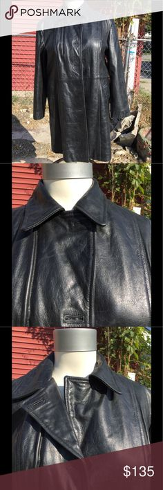 ❄️Gorgeous 100% Leather Coat❄️ This coat is absolutely gorgeous! Has a good weight to it. Will def keep you warm this winter. Nice warm lining. Fits like a size 16! Jackets & Coats Trench Coats