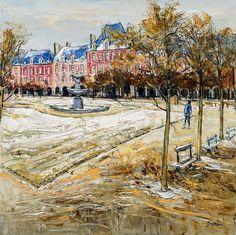 """Jean-Paul SURIN """"Première neige place des Vosges"""" Huile sur toile   100x100 Galerie D'art, Post Impressionism, Paintings, Paris, Contemporary, Oil On Canvas, Canvases, Painters, Montmartre Paris"""