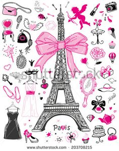 Hand-drawn doodle collection of Paris symbols - stock vector