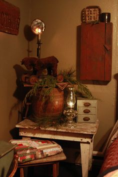 Make a Holiday corner that can be dressed for all our annual speciap celebration times. I love  a few of the pieces om the table...as well as the table! <3