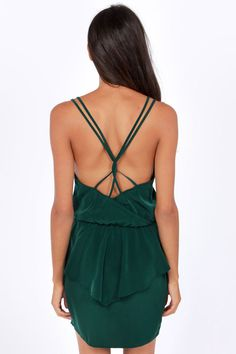 Dance Till Dawn Hunter #Green #Peplum Dress  Get 7% Cash Back http://www.studentrate.com/itp/get-itp-student-deals/lulu-s-Student-Discount--/0