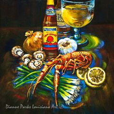 Crawfish Fixin's, Louisiana Hot Sauce, New Orleans Seafood Painting, NewOrleans Stretched Canvas or Print, New Orleans Artist Dianne Parks