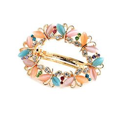 So Beauty Women's Multi-Butterflies Shaped Cat's Eye Gemstone and Rhinestone Hair Barrette Clip Accessary Mixed Color * Details can be found by clicking on the image.
