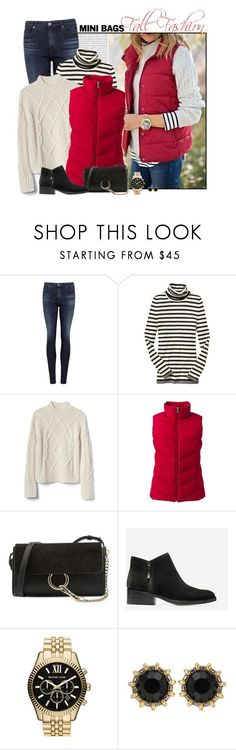 """""""Red Puffer Vest"""" by fashionista88 ❤ liked on Polyvore featuring AG Adriano Goldschmied, Gap, Lands' End, Chloé, Cole Haan, MICHAEL Michael Kors and Gucci"""