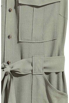 Szmizjerka bez rękawów - Jasny khaki - ONA   H&M PL