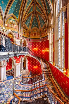 St Pancras Renaissance Hotel, London by Wilhelm Chang on Luxury Staircase, Grand Staircase, Stairs, Maximalist Interior, Gothic Interior, Boho Aesthetic, Renaissance Hotel, Game Rooms, London Hotels