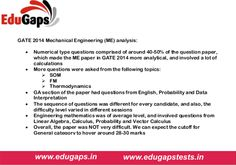 GATE 2014 Mechanical Engineering (ME) analysis.   #GATE2015 #IES2014 #GATEcoachinginChandigarh