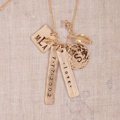 personalized name necklace, $125, hand stamped jewelry, mothers day jewelry gift, gold, charm necklace, name necklace #threesistersjewelry #wearyourstory