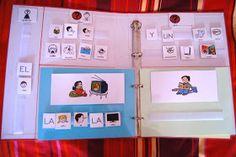 Recambio para construir frases sencillas de entre 3 y 5 palabras. En la columna de la izquierda se adhieren los pictogramas de niño y...
