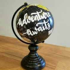 Personalized Mini Globe Hand Lettered Globe Mini Globe | Etsy Painted Globe, Painted Rocks, Hand Painted, Globe Decor, Diy Crafts For Adults, Vintage Globe, Map Globe, Mini Hands, Travel Party