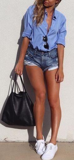 #SpringBreak #Outfits / Denim Short Shorts - Light Blue Long Sleeve Shirt