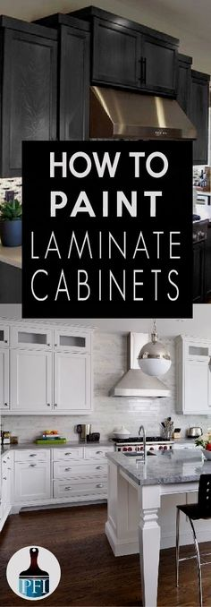 Learn how to paint your laminate cabinets and give your kitchen or bath a makeover! How to Paint Laminate Cabinets & Painted Furniture Ideas. The post How to Paint Laminate Cabinets & Painted Furniture Ideas appeared first on Mack Makeovers. New Kitchen Cabinets, Kitchen Redo, Kitchen Countertops, Black Countertops, Bath Cabinets, Kitchen Craft, Wooden Kitchen, Wood Cabinets, Kitchen Backsplash
