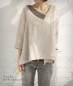 nature/women blouse/top/loose/custom made/linen. $69.00, via Etsy.