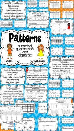 Patterns - Numerical, Algebraic, and Geometrical Patterns Task Card and Poster… Math Strategies, Math Resources, Math Activities, Teaching Posters, Teaching Math, Teaching Ideas, Math Patterns, Math Vocabulary, Fourth Grade Math