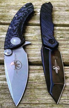 Microtech Marfione Custom Anax Tanto Folding Knife Blade with Carbon Fiber Handles