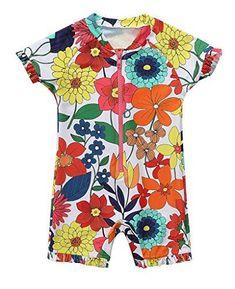 e4ffe8fc6d194 baby Girls Swimsuit Short Sleeve Bathing Suit Floral Rash Guard UV  Radiation New