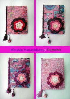 4 libretas pequeñas decoradas con papel Décopatch. Llevan el lomo decorado con una trenza y flor de ganchillo de adorno.  www.misuenyo.com / www.misuenyo.es Facebook: Tricrochet
