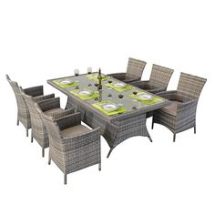 Make the most of your outdoor furniture with this elegant and stylish dining table set. The set comprises of a rectangular glass topped table and six chairs. Each chair has firm armrests and beautiful seat cushions for added comfort.
