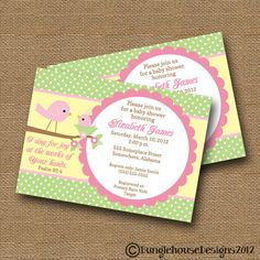 Bird Baby Shower Invitation DIY PRINTABLE by bunglehousedesigns, $12.00