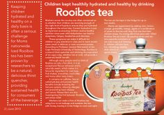 Children kept healthily hydrated and healthy by drinking Rooibos Tea